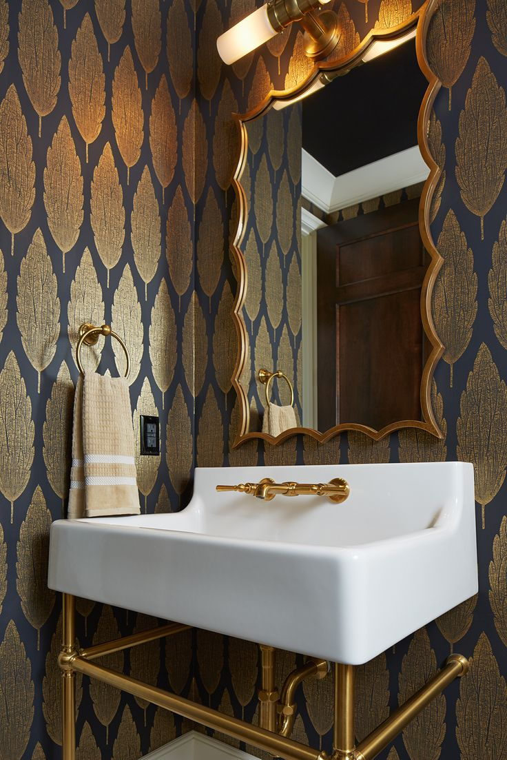 Powder Room | Wallpaper |Modern Tudor  Artisan Show House | Hendel Homes