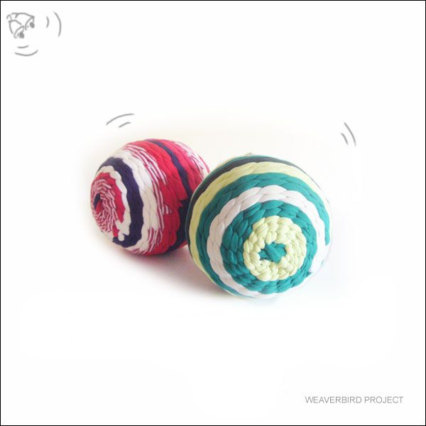 Hand woven softie balls- WOVEN STRIPES project