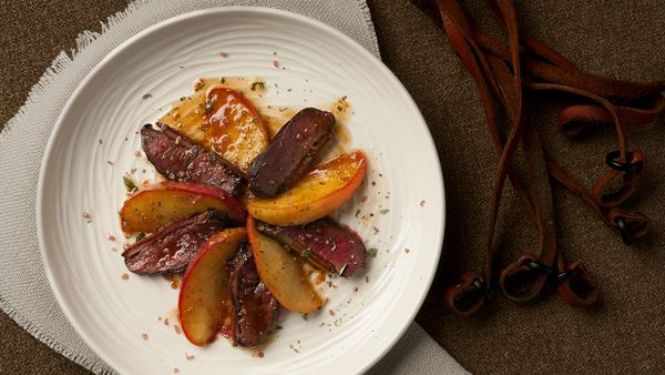 duck breast with apples recipe - this was very yummy! I would double the sauce next time and only use one apple.