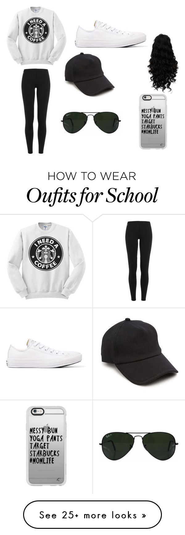 school outfit by jocelyn-bean on Polyvore featuring Polo Ralph Lauren, Converse, rag  bone, Ray-Ban and Casetify