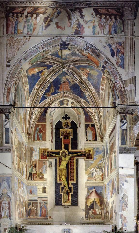 Piero della Francesca, Cappella Bacci, Basilica di San Francesco, Arezzo.  the frescos are piero's(but not the cross).