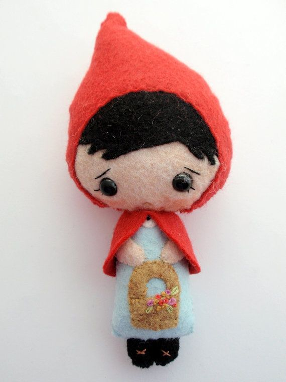 Tiny Stuffed Felt Little Red Riding Hood Doll by ArtsySewin, $23.00