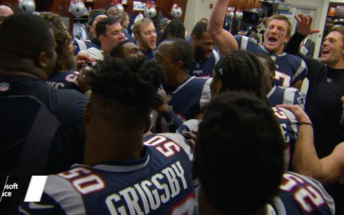 Go inside the Patriots locker room after their 37-16 Christmas Eve win against the Bills at Gillette Stadium.