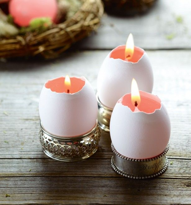 Easter egg candles These candles, which are a cinch to pull off, will light up any brunch table or spring mantel. Melt shredded wax in a metal container (an old can works well) over a double boiler and pour into empty eggshells. When wax is partly set (three to five minutes), insert a small birthday candle, trimmed to size. Display them grouped together in egg cups or even napkin rings.