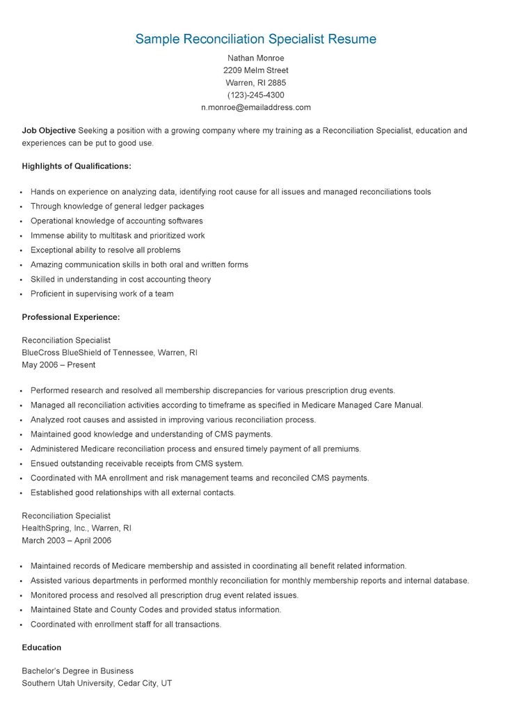 sample reconciliation specialist resume resame