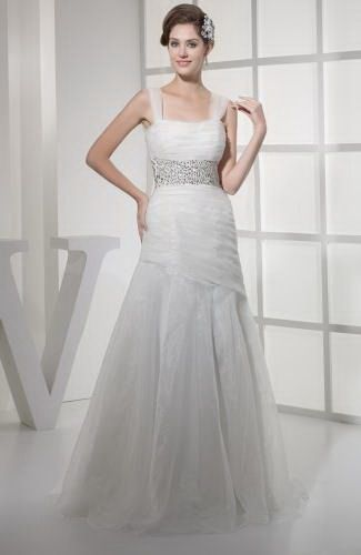 A-Line Square Organza Bridal Gown - Order Link: http://www.thebridalgowns.com/a-line-square-organza-bridal-gown-tbg2103 - SILHOUETTE: A-Line; SLEEVE: Sleeveless; LENGTH: Sweep/Brush Train; FABRIC: Organza; EMBELLISHMENTS: Sequin , Paillette , Ruching - Price: 209.99USD