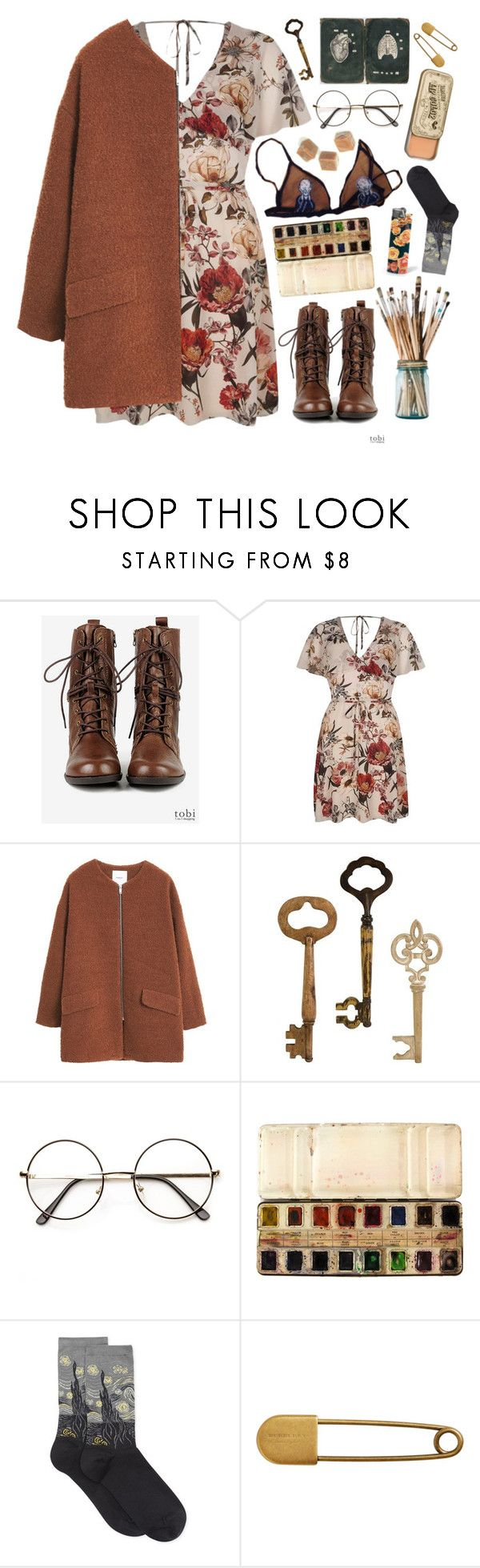 """""""An art misunderstood"""" by xxayshaxx ❤ liked on Polyvore featuring Seychelles, River Island, MANGO, Home Decorators Collection, GHETTO FAB, HOT SOX and Burberry"""