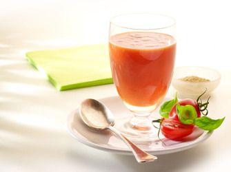 Recepten - Gekoelde soep met tomaat, paprika en komkommer