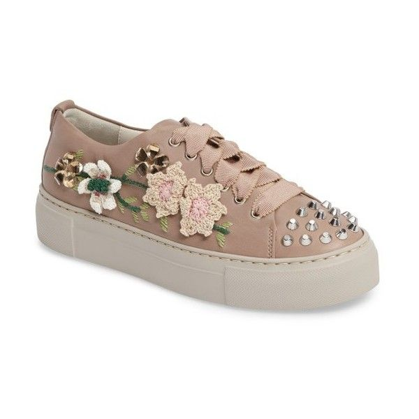 Women's Agl Flower Embellished Sneaker featuring polyvore women's fashion shoes sneakers pale leather leather trainers floral shoes sport sneakers sport shoes leather shoes