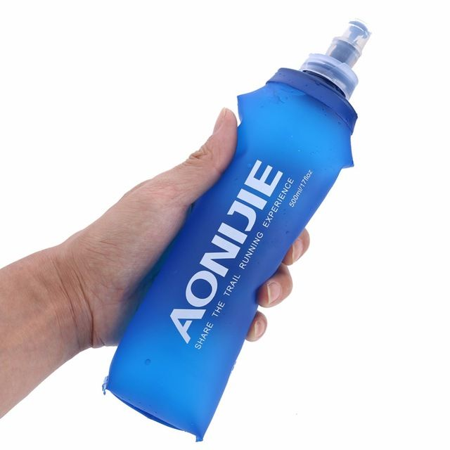 Portable 250//500ML Foldable Soft Flask TPU Outdoor Sport Running Water Bottle