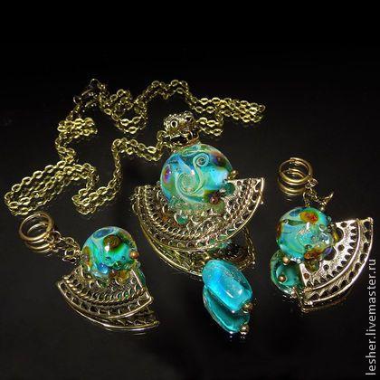 Сокровища Клеопатры - кулон и серьги лэмпворк - бирюзовый,кулон лэмпворк