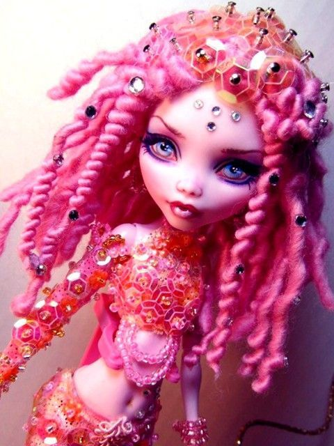 OOAK Mermaid Monster High Draculaura Doll Custom Repaint Pink Dreadlocks New | eBay