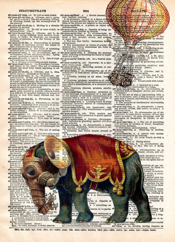 Steampunk elephant, elephant art print, oddities art