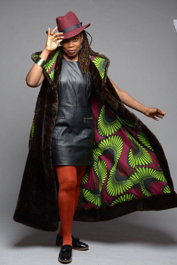 Brown luxury faux fur coat Vlisco African print by GitasPortal