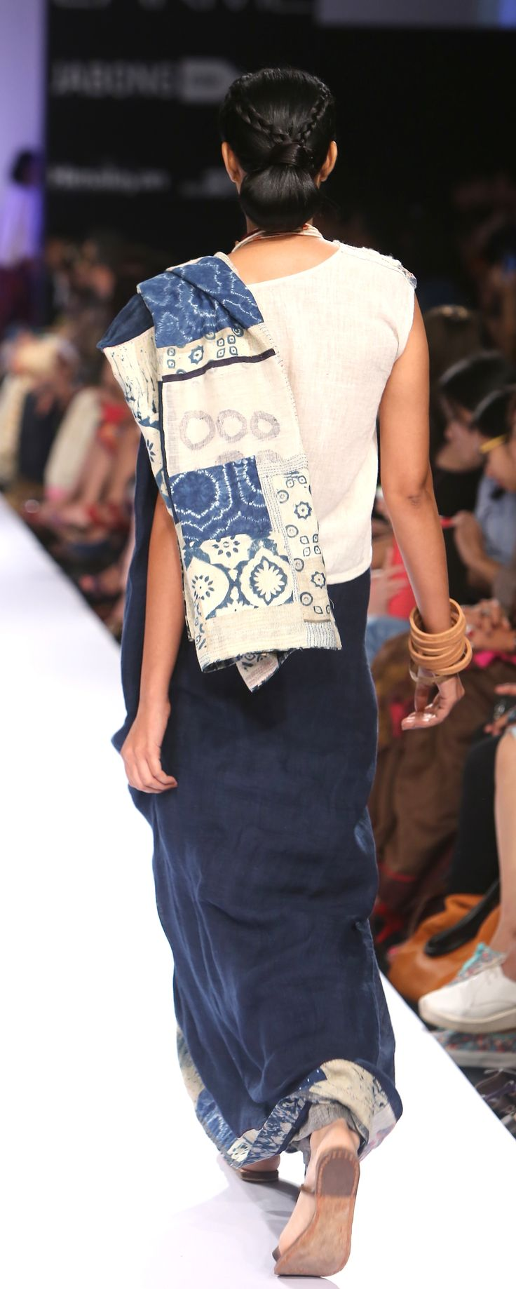 appliqué block printed Indigo Sari