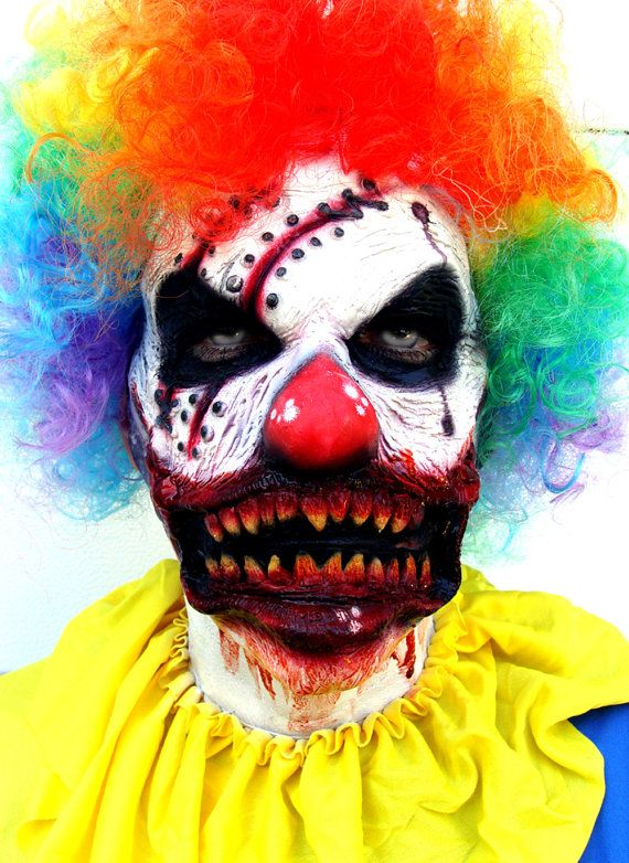 Adult Clown Mask Prosthetic, Costume or Zombie Horror Themed Costume - Latex Prosthetic Makeup - pieces perfect for Halloween Costumes Can be used for zombie makeup or any type of horror themed production. Scary Clown Costume Mask FX Prosthetic   Item Name: STITCH the CLOWN Special FX Facial Prosthetic.Handmade & Prepainted by Airbrushing.  Works For: Adult Faces - Men or Women and some teenagers Included: One Facial Prosthetic. Please note: This is not a traditional mask, it is a latex p...
