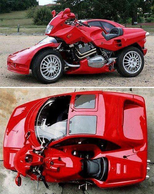 Cool car & Motorbike together.