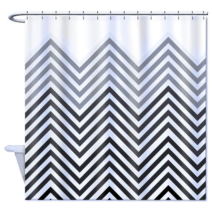 Home Goods Shower Curtain Polyester, Black Grey and White Part Chevron Zigzag, Part Plain White 72 x 72inch