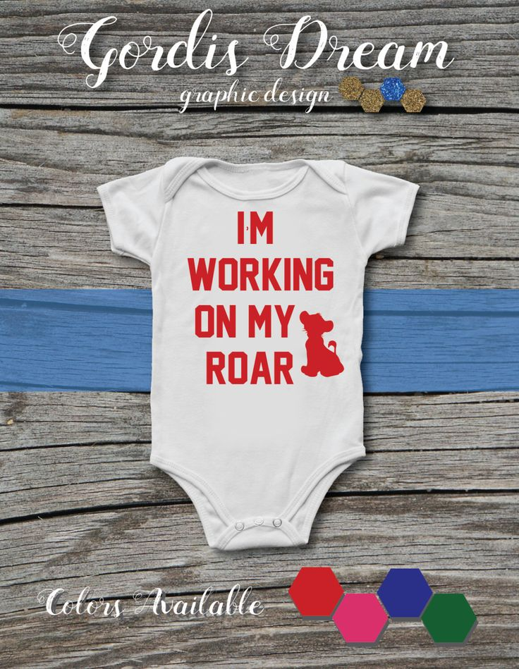 Lion King - I'm Working on my Roar White Baby Onesie with Red Font / BodySuit / Present / Gift  / Shower / Movie / Bruce by GordisDream on Etsy https://www.etsy.com/listing/503626085/lion-king-im-working-on-my-roar-white