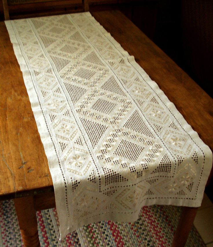 "Old Vintage 1900's Hardanger Table Runner Hand Embroidery Cream Silk Thread 72""…"