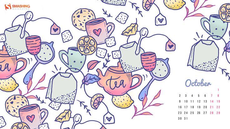 Tea And Cookies - Calendar Wallpaper for October 2017