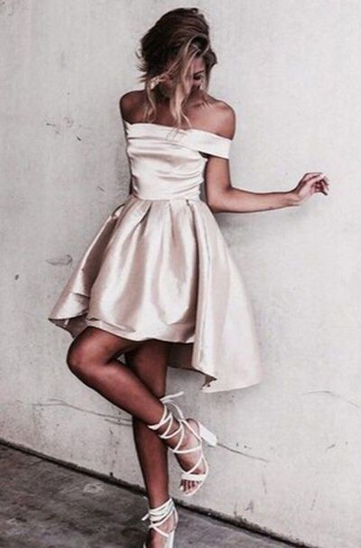 Sexy Off Shoulder Light Champagne Homecoming Dress, Cheap Prom Dress Short, Fashion Homecoming Dress for Girls, Graduation Dresses for Teens