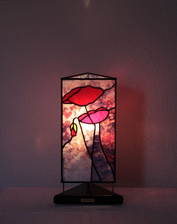 "Our stained glass tiffany style table lamp: ""Poppy Flower"" www.mana-glaskunst.de"