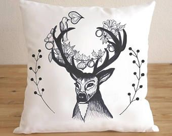Throw Pillow Christmas Reindeer Pillow Cover - Christmas Gift Free Shipping Christmas Decoration Pillow - Home Décor - Pillow Cover, Cushion