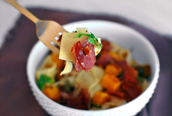 Prosciutto and Butternut Squash Pasta with Arugula and pine nuts | A ...