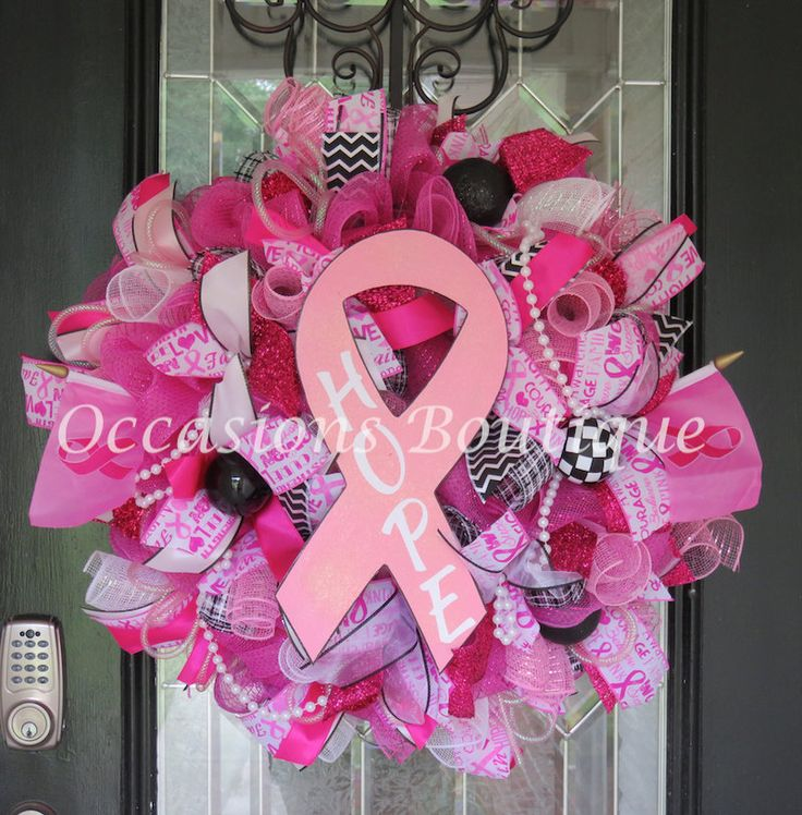 Breast Cancer Awareness Wreath, Breast Cancer Wreath, Door Hanger, Hope, Survivor, Front door Wreaths, Wreath for Door, Everyday Wreath by OccasionsBoutique on Etsy