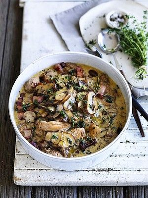 Neil Perry Chicken braised with mushrooms and thyme.