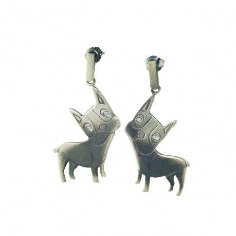 Małe Buldogi - srebrne kolczyki