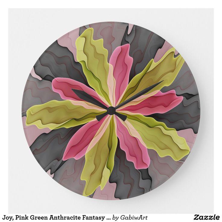 Joy, Pink Green Anthracite Fantasy Flower Fractal Large Clock in