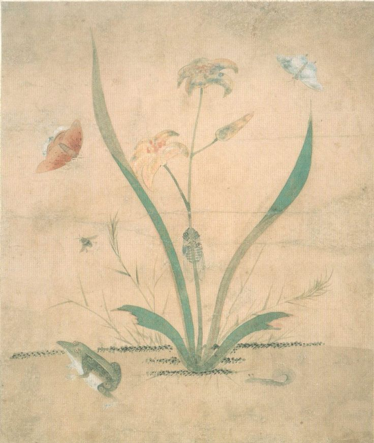 Attributed to Lady Sin Saimdang (1504-51), Grass and Insects Autumn sunflowers and Frogs, Joseon Dynasty, National Museum of Korea.