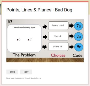 Points, Lines & Planes – Bad Dog Breakout for Google Classroom