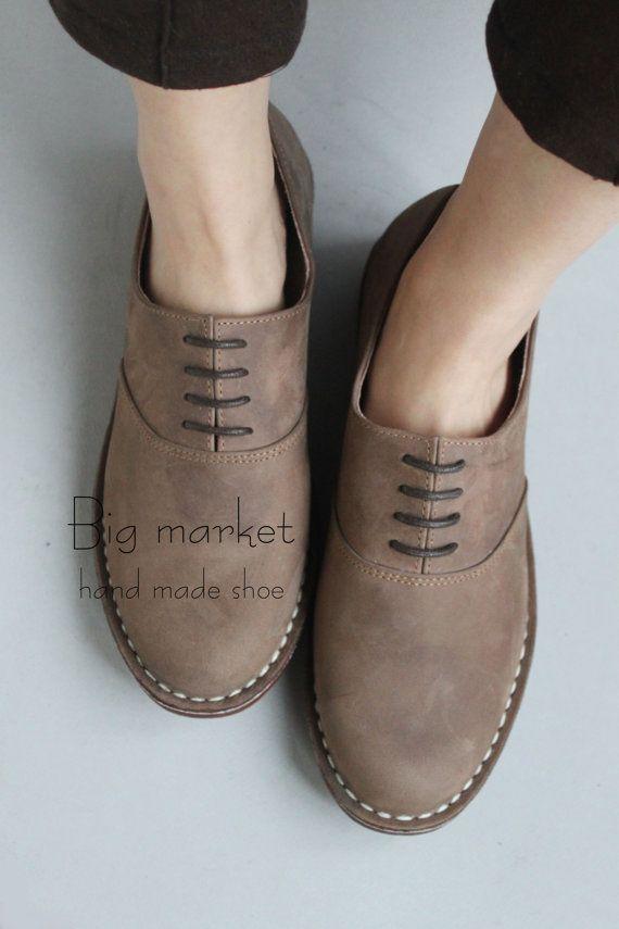 Unique Design Women Shoes Handmade Frosting Leather Flats Men Shoes Oxford Shoes – HZBM014