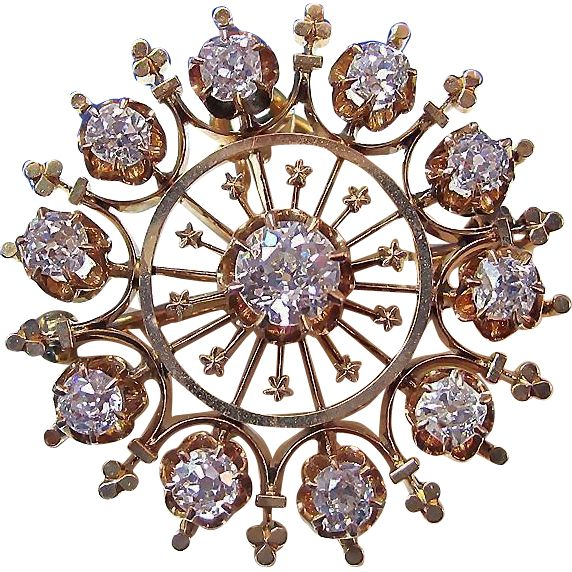 Glorious 1.55 Diamond Victorian Wedding Brooch/Pendant 14K Vintage Antique Wedding Fashions and accessories at www.rubylane.com @rubylanecom