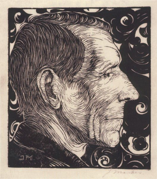 Jan Mankes, father's portrait right profile, #woodcut #woodblock