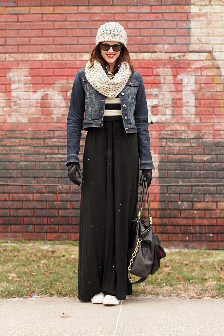 A cute way to wear a maxi dress or skirt in the winter. Love this outfit!