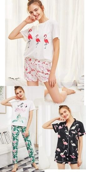 Summer Flamingo Pajama Style – Longwear Summer Night Dress Code – Girl pajama Se…