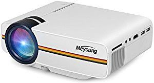 """Win Meyoung HD Home Theater Video Projector 1080P 1200 Lumens 150"""" for Movie Night Support HDMI DVD Player Games HD Ready (TC80 White)"""