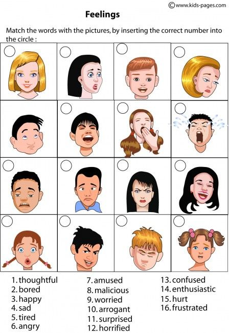 Kids Pages - Feelings Matching 1 - includes multiple worksheet activities to help kids learn about emotions.