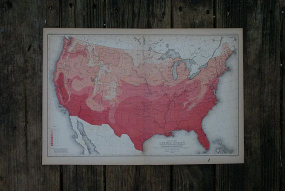 1883  United States Map  Large & Colorful Map  by TheWoodenEarth