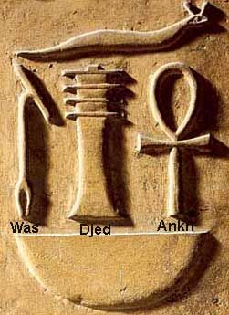 """Tree of Life, Djed, and Ankh - """"Ankh"""" - symbol of life - thoracic vertebrae of a bull, """"Djed"""" - symbol of stability - base or sacrum of a bull's spine, """"Was"""" - symbol of power and dominion - a staff made from a dried bull's penis."""
