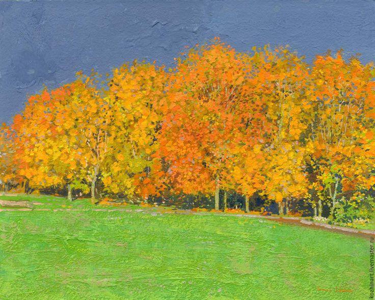 Купить К дождю. Октябрь. - темно-серый, осень, масляная живопись, импрессионизм, картина в подарок