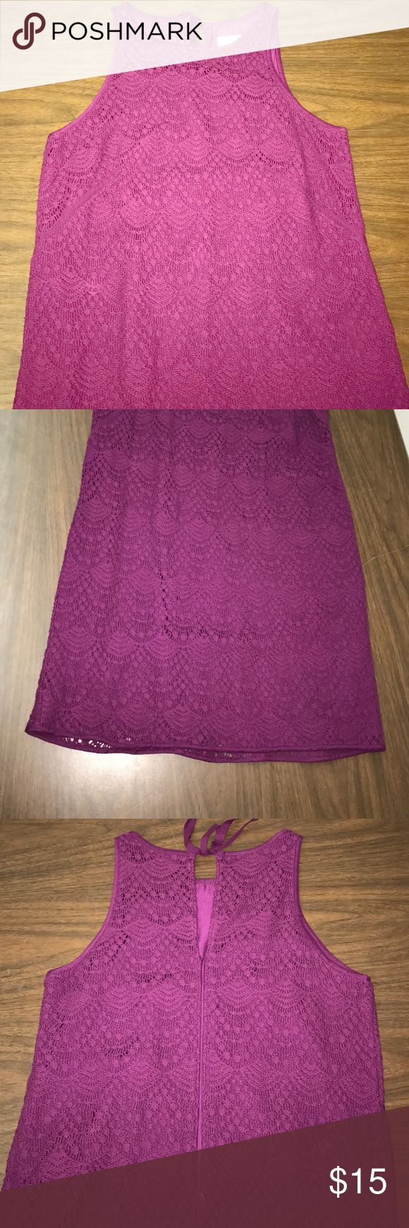 "Ann Taylor LOFT Crochet Dress Ann Taylor LOFT size 6 Petite. Purple Crochet overlay dress. Sleeveless. Round neckline. Tie bow at back of neck with a 6"" keyhole underneath. 10"" zipper under that. Total length: 32.5"". Fully lined. Shell: 88% Cotton 12% Nylon. Lining: 100% Polyester. Worn once, no flaws! LOFT Dresses Midi"