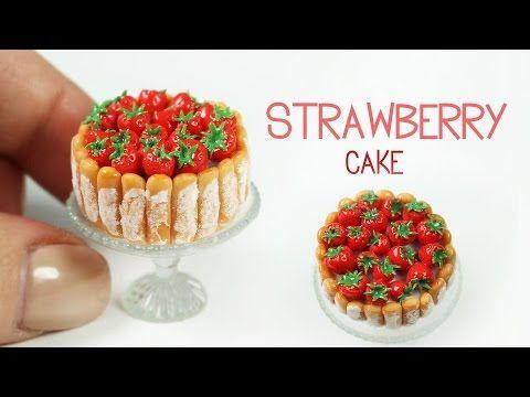 polymer clay Strawberry Cake TUTORIAL - YouTube