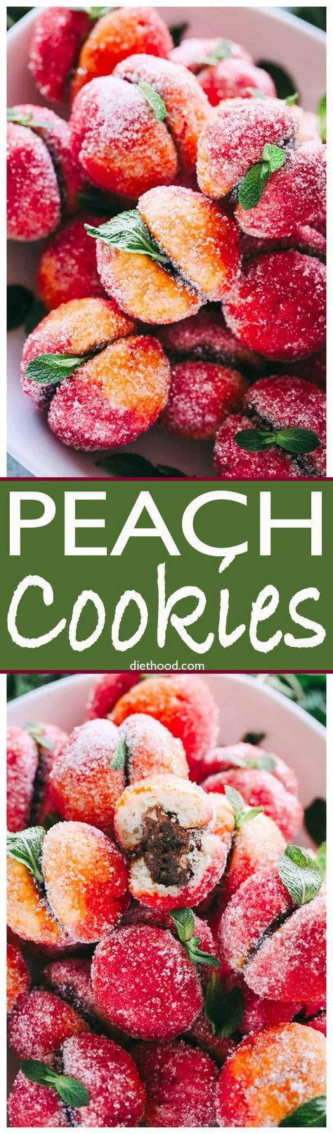 Peach Cookies - Nutella filled sandwich cookies that look like peaches! These #cookies are a show stopper and will look beautiful on your #Holiday cookie tray. #Christmas via @diethood
