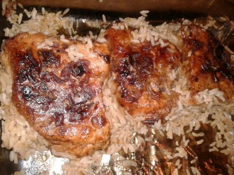 Pork Chop Rice Casserole: 2 c rice (Uncooked) 2 1/2 c water, 1/2 c margarine (Cut into 4- 5 chunks) 1 pkg dry onion soup mix, 4 -8 center-cut pork chops *Brown pork chops in frying pan, if desired. Place rice in 9 x 13 roasting pan. Add water, onion soup mix & combine with rice. Place the 4 or 5 chunks of margarine on top of rice. Place pork chops on top. 6 Cover casserole with foil and bake at 350 degrees for 1 hour.
