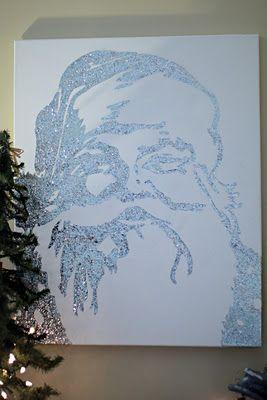 Pottery Barn knock off of a glittered Santa canvas.